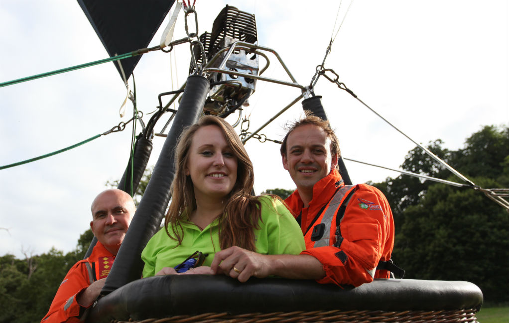 Great Western Air Ambulance employees in the Bristol Energy Solar Balloon