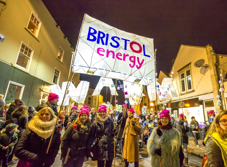 Bristol Energy staff promoting fuel poverty awareness at lantern parade