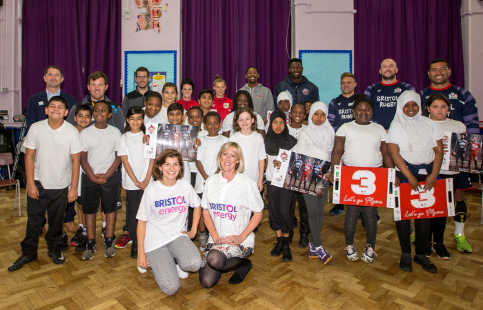 Bristol Energy with Bristol Sports players and pupils from Millpond School