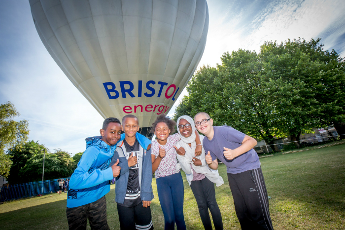 School pupils with Bristol Energy solar balloon