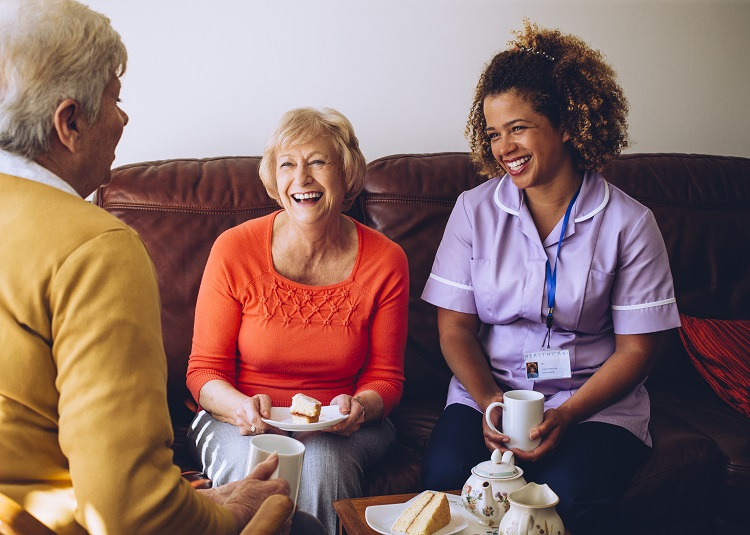 Care home residents in energy saving care home