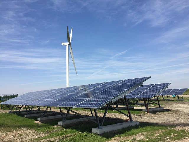 Community energy projects, solar panels and wind turbine