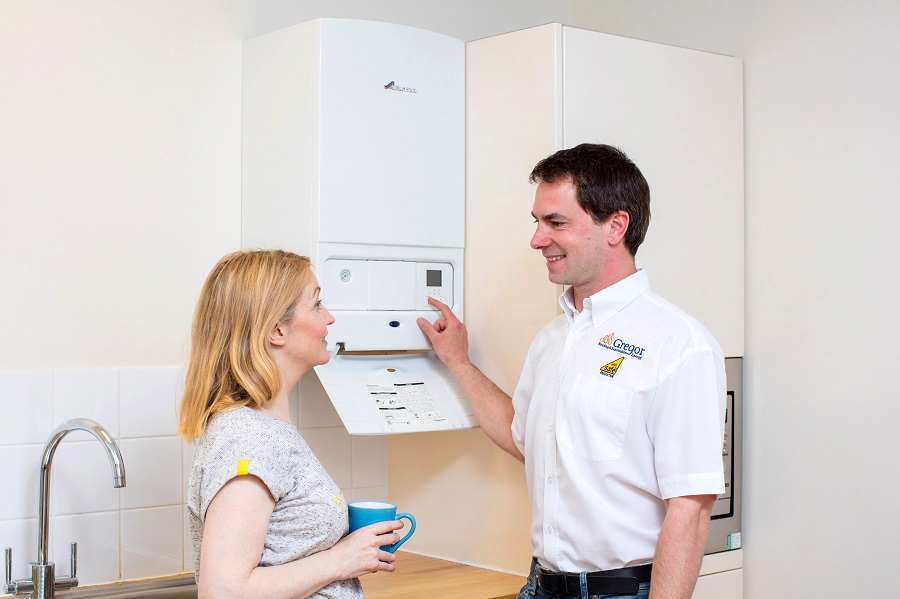 Boiler engineer with customer