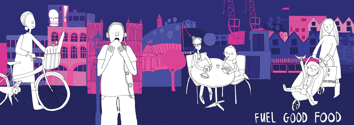 Illustration of people eating Fuel Good Food in Bristol