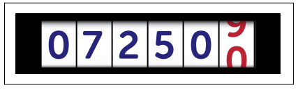 Analogue electricity meter displaying numbers 07250 with the final digit, furthest right, half obscured in red.
