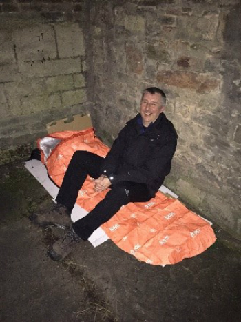 Peter Haig sleeping out