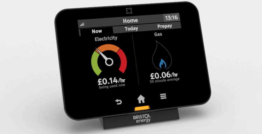 Second generation smart meter in black showing Bristol Energy logo
